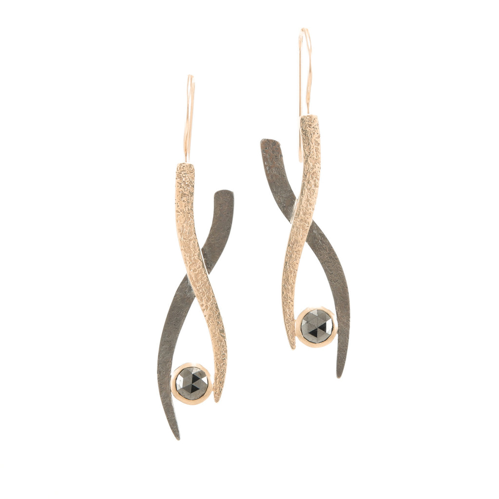 Gold & Silver Small Woven Earrings with Black Diamonds-Rose Gold-Hozoni Designs