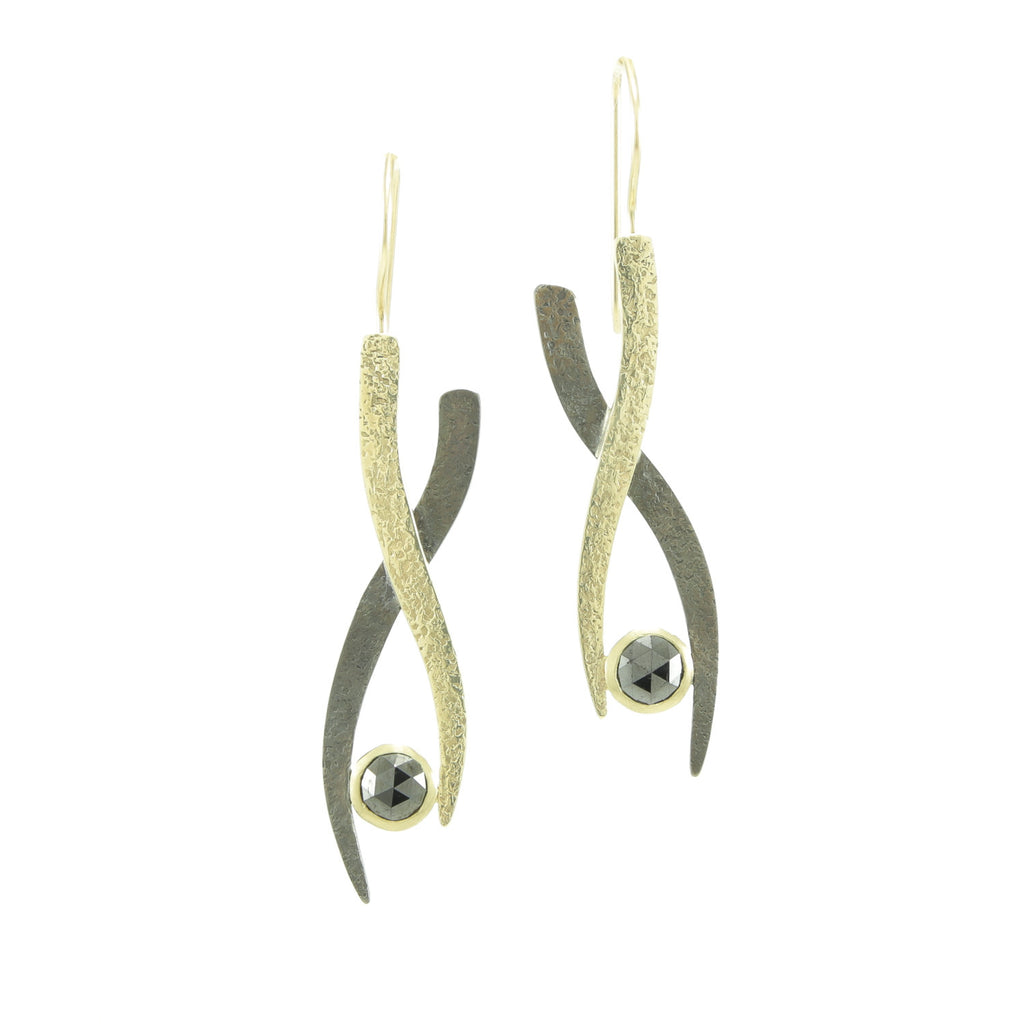 Gold & Silver Small Woven Earrings with Black Diamonds-Yellow Gold-Hozoni Designs