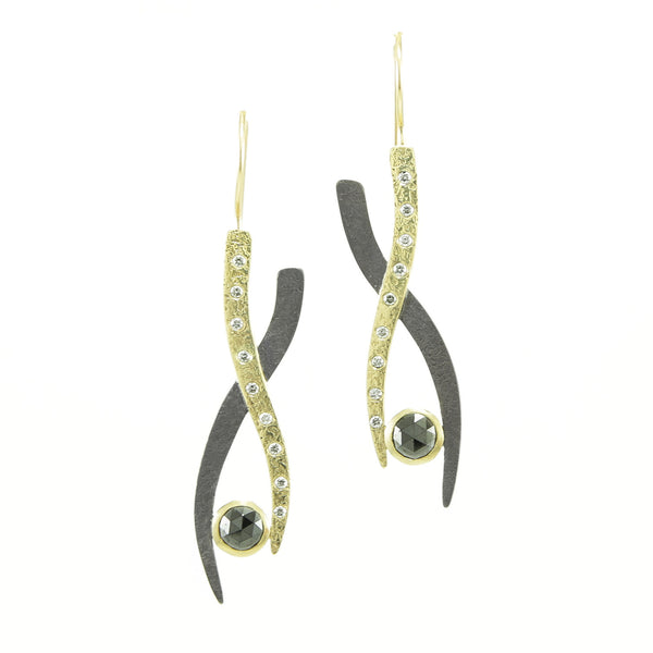 Gold & Silver Small Woven Earrings with Black and White Diamonds-Yellow Gold-Hozoni Designs