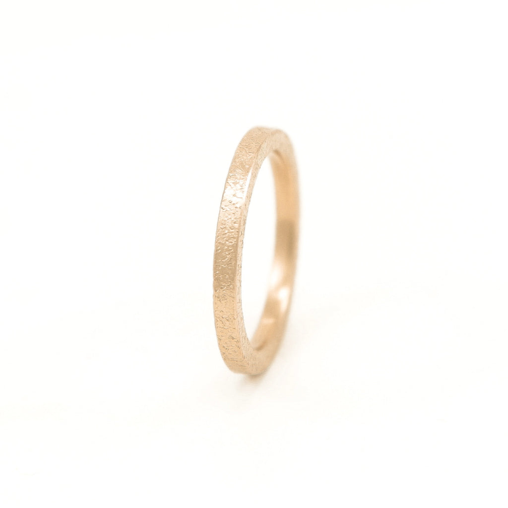 Women's 14K Gold Thin Rustic Band-4-Hozoni Designs