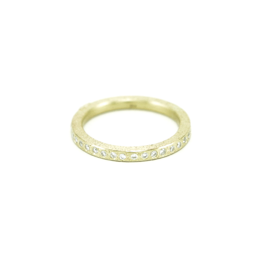 Women's 14K Gold Thin Rustic Band with Flush Set White Diamonds - Hozoni Designs