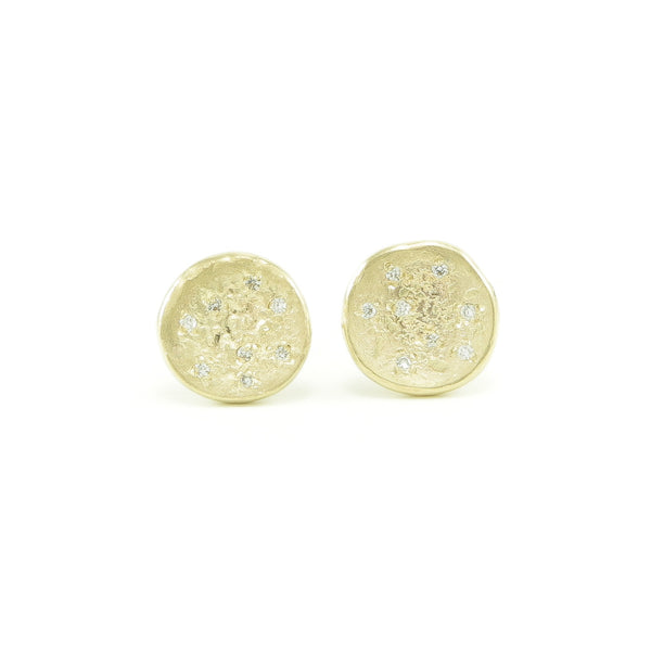 14K Gold Organic Stud Earrings With White Diamonds-Polished-Hozoni Designs