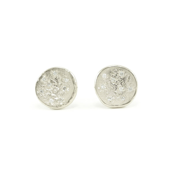 14K White Gold Organic Stud Earrings With White Diamonds-Polished-Hozoni Designs