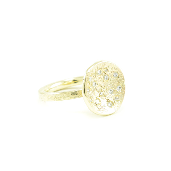 Women's 14K Gold Organic Disc Ring with White Diamonds - Hozoni Designs
