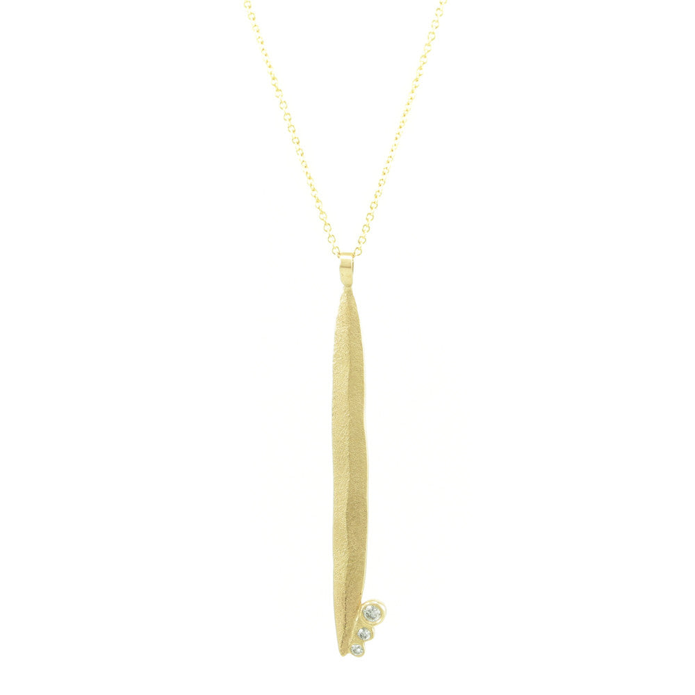 14K Gold Long Leaf Necklace with Diamonds - Hozoni Designs