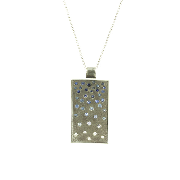 Sterling Silver Ombre Necklace with Blue Sapphires and White Diamonds-Hozoni Designs