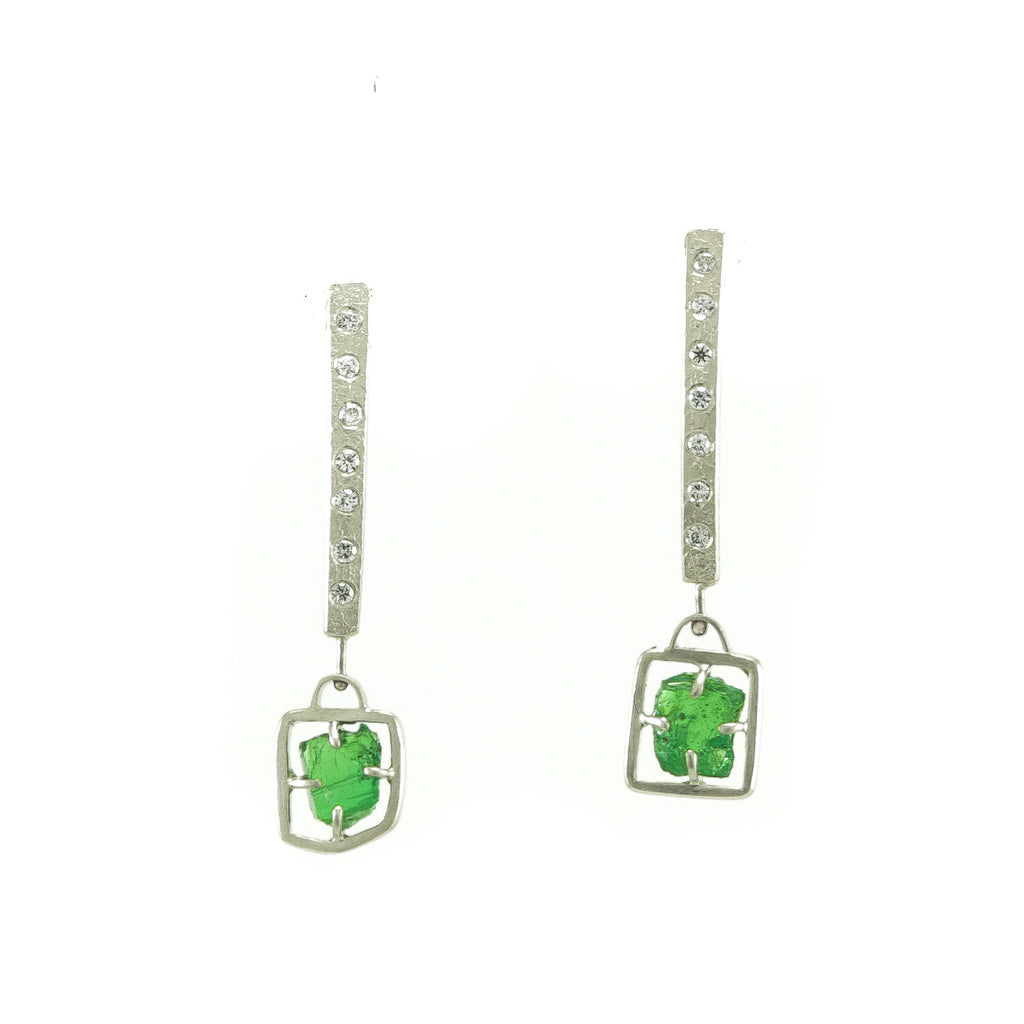 14K White Gold Rough Tsavorite Garnet and Diamond Earrings - Hozoni Designs