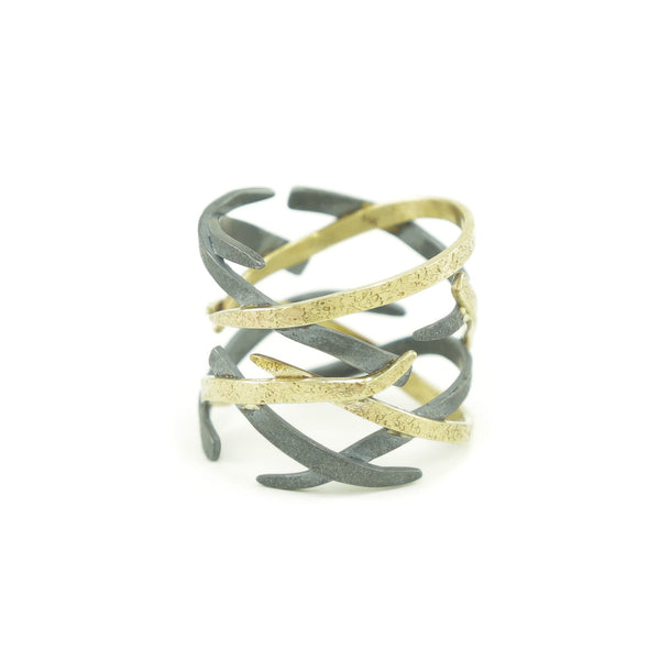 Women's 14K Gold Woven Ring - Hozoni Designs
