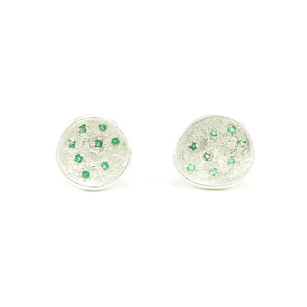 Sterling Silver Organic Stud Earrings With Emeralds-Polished-Hozoni Designs
