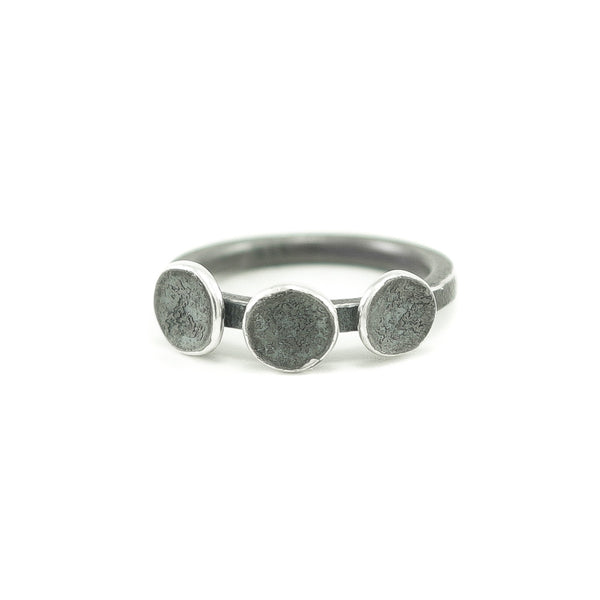 Sterling Silver Organic Three Disc Ring - Hozoni Designs