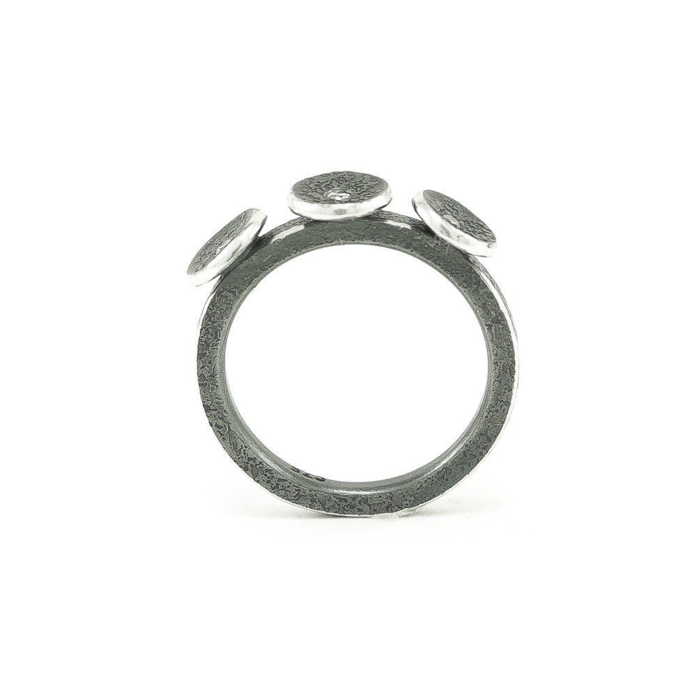 Sterling Silver Organic Three Disc Ring with White Diamonds - Hozoni Designs