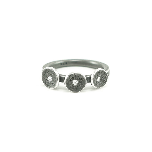 Sterling Silver Organic Three Disc Ring with White Diamonds-4-Hozoni Designs