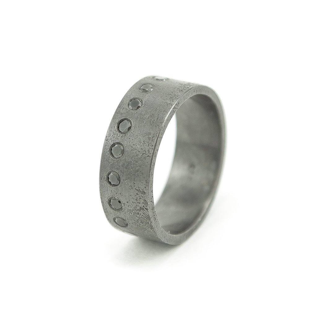 Men's Sterling Silver Rustic Band with Flush Set Round Black Diamonds-6-Hozoni Designs