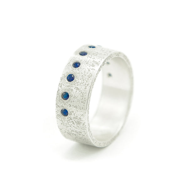 Men's Sterling Silver Rustic Band with Flush Set Round Sapphires - Hozoni Designs
