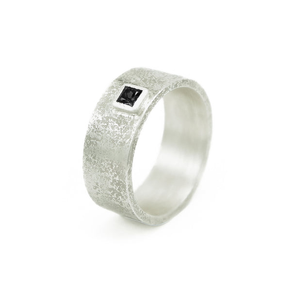 Men's Sterling Silver Rustic Band with Princess cut Black Diamond - Hozoni Designs