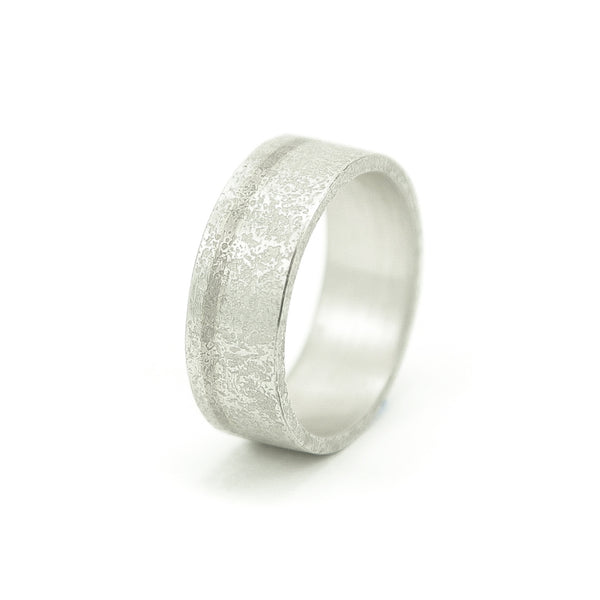 Men's Sterling Silver Rustic Band with 14K White Gold Inlay-6-Hozoni Designs