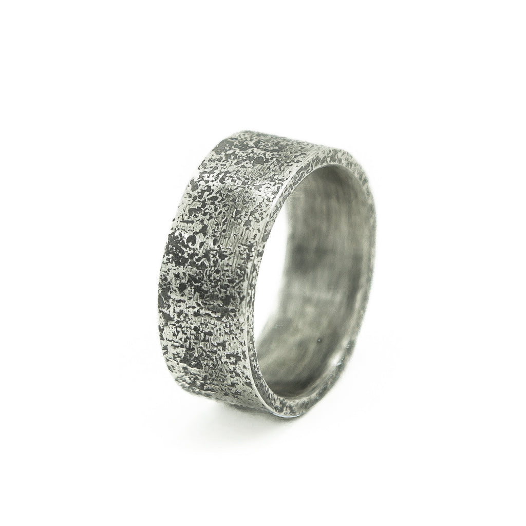 Men's Sterling Silver Rustic Band-6-Hozoni Designs