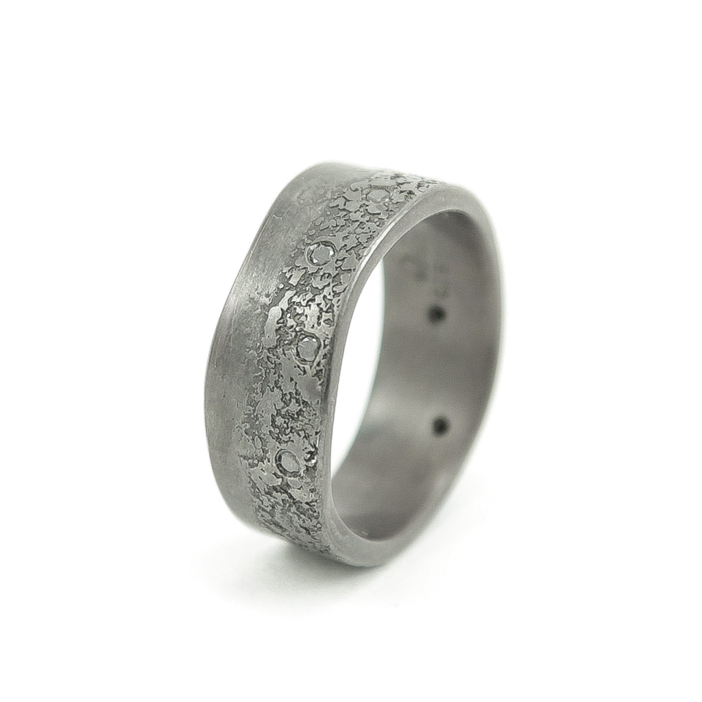 Men's Sterling Silver Organic Band with Black Diamonds - Hozoni Designs
