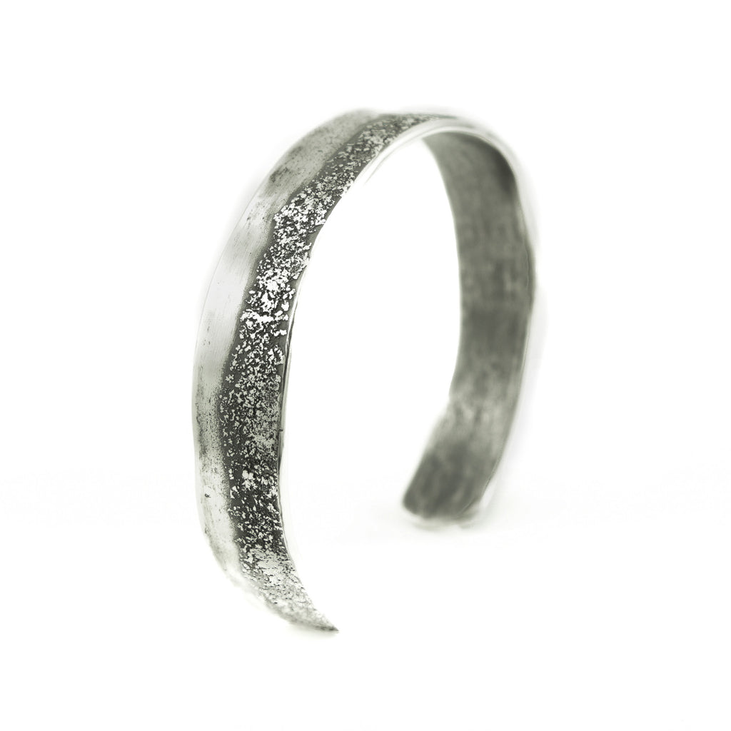 Sterling Silver Organic Cuff Bracelet with Texturing-Hozoni Designs