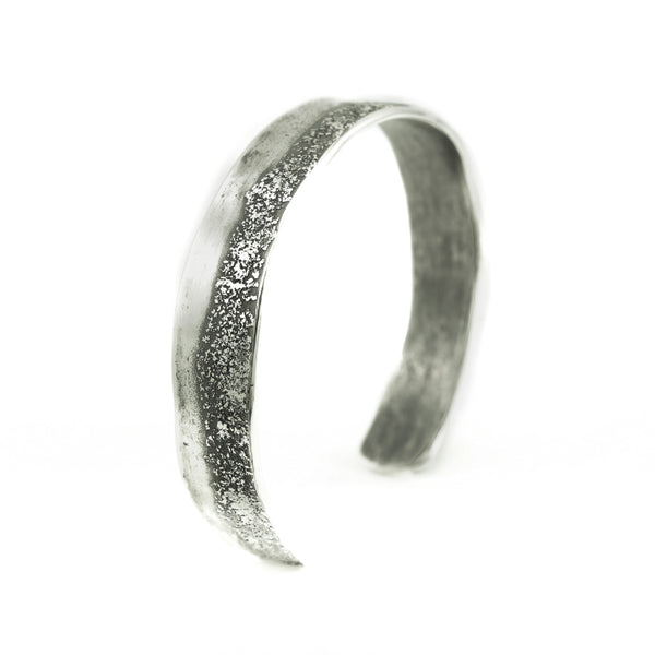 Sterling Silver Organic Cuff Bracelet with Texturing - Hozoni Designs