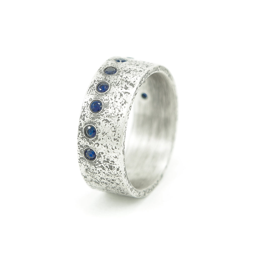 Men's Sterling Silver Rustic Band with Flush Set Round Sapphires-6-Hozoni Designs
