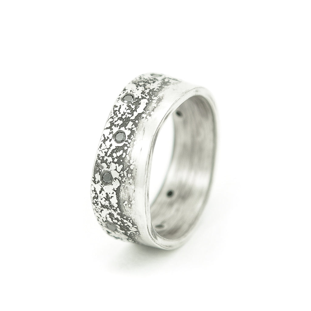 Men's Sterling Silver Organic Band with Black Diamonds-6-Hozoni Designs