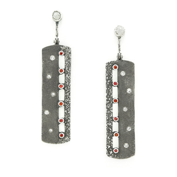 Sterling Silver Earrings with Orange-Red Sapphires and White Diamonds-Hozoni Designs