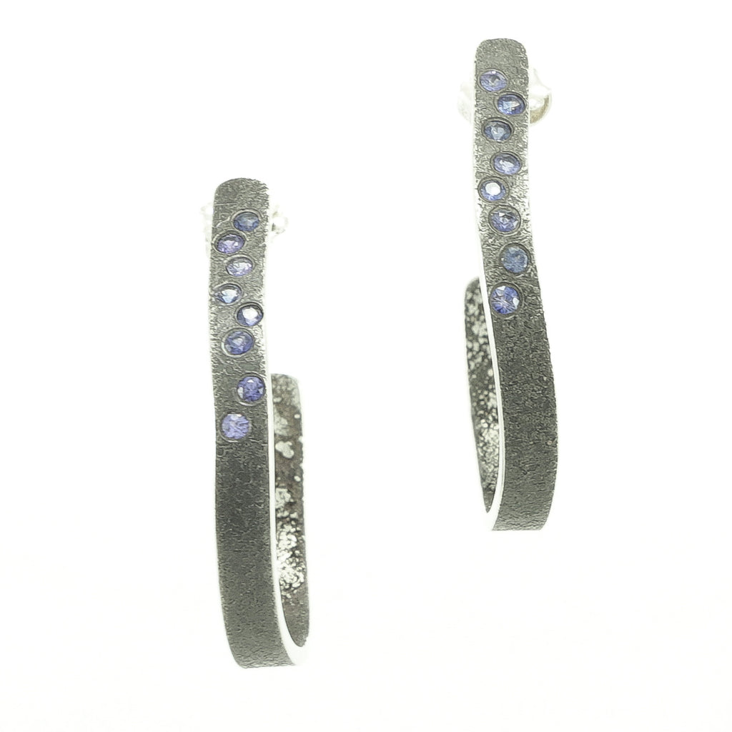 Sterling Silver Organic Hoop Earrings with Flush Set Sapphires-Hozoni Designs