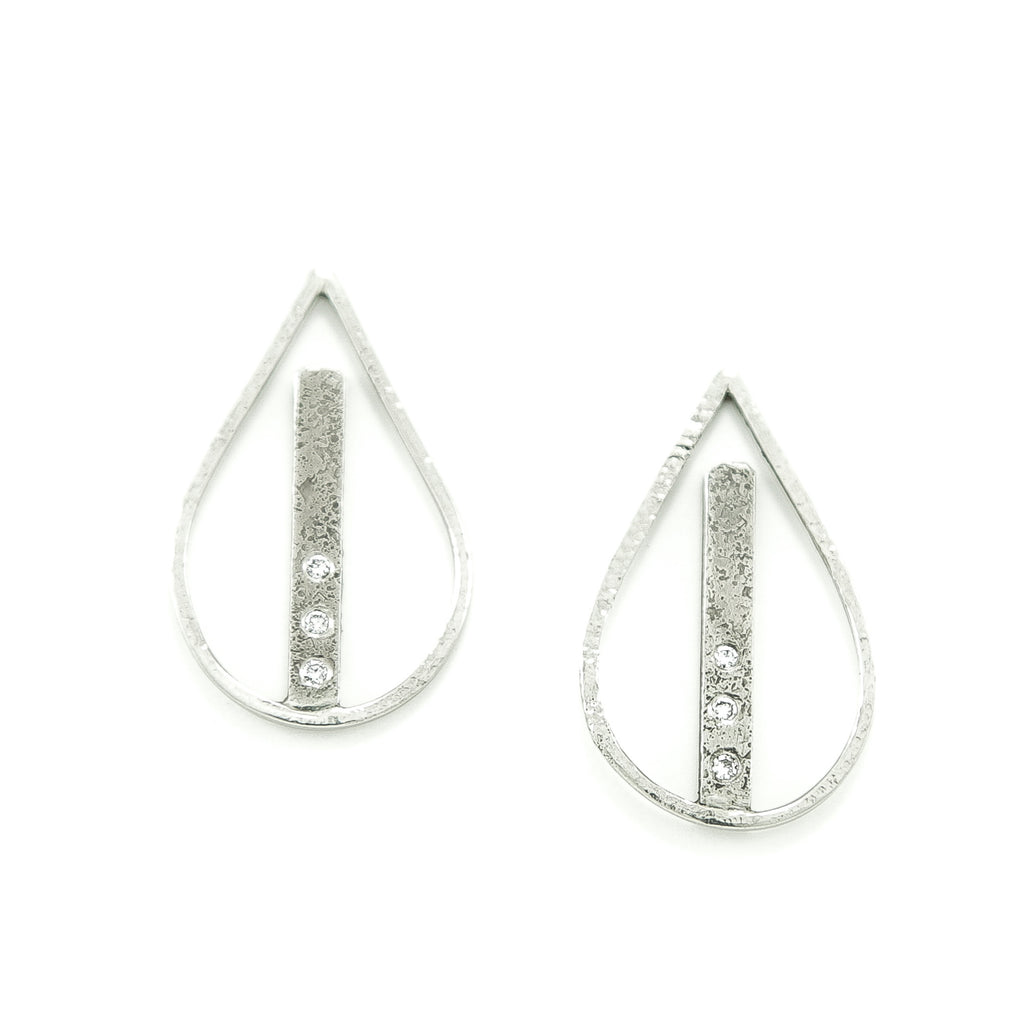 14K White Gold Teardrop Earrings with White Diamonds-Hozoni Designs