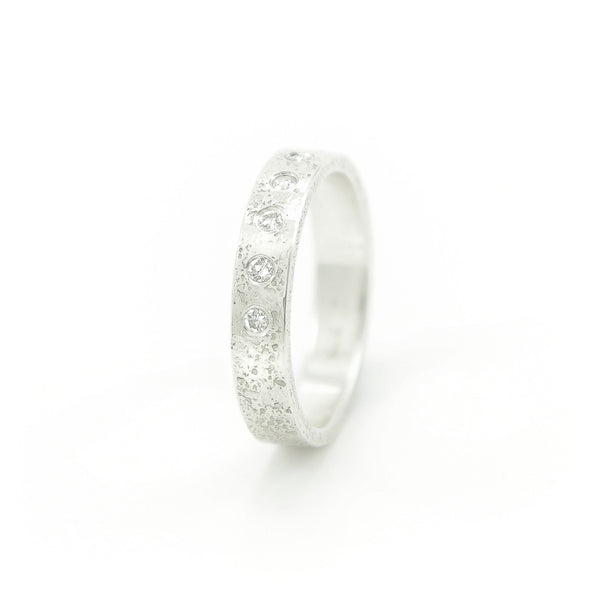 Women's Sterling Silver Rustic Band with Flush Set White Diamonds - Hozoni Designs