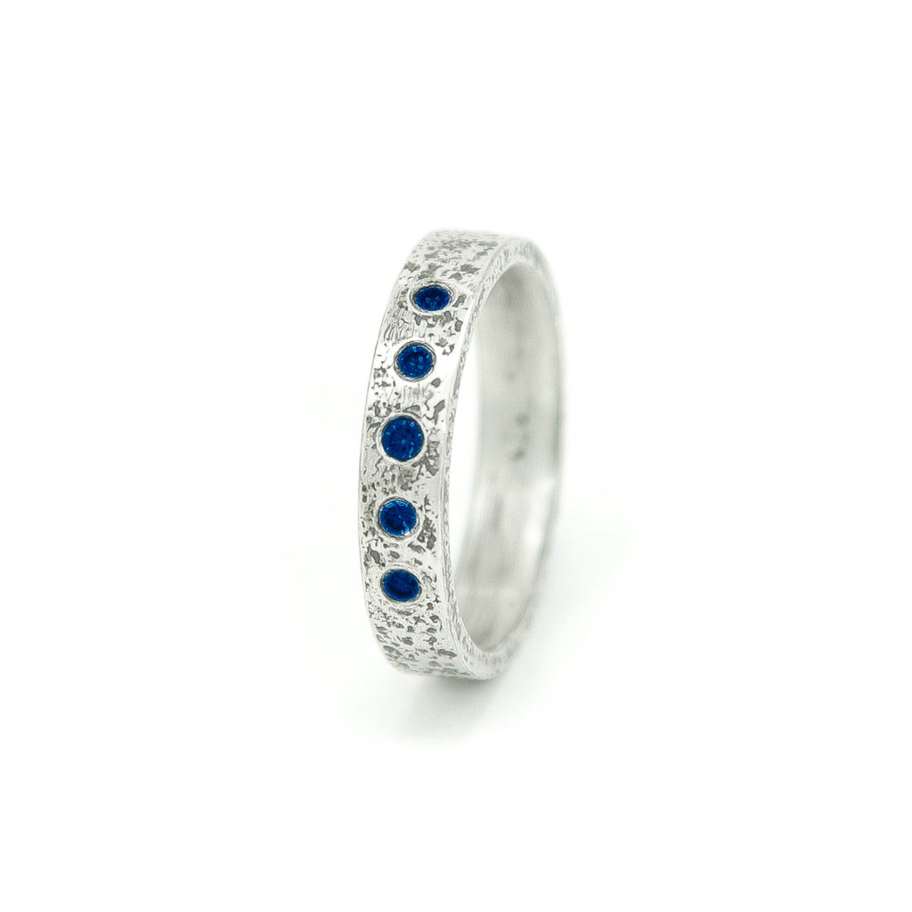 Women's Sterling Silver Rustic Band with Flush Set Round Sapphires-4-Hozoni Designs