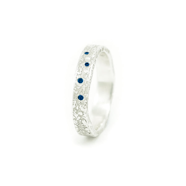 Women's Sterling Silver Organic Band with Round Sapphires - Hozoni Designs