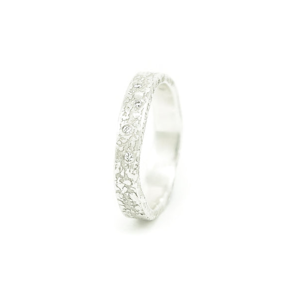 Women's Sterling Silver Organic Band with White Diamonds - Hozoni Designs