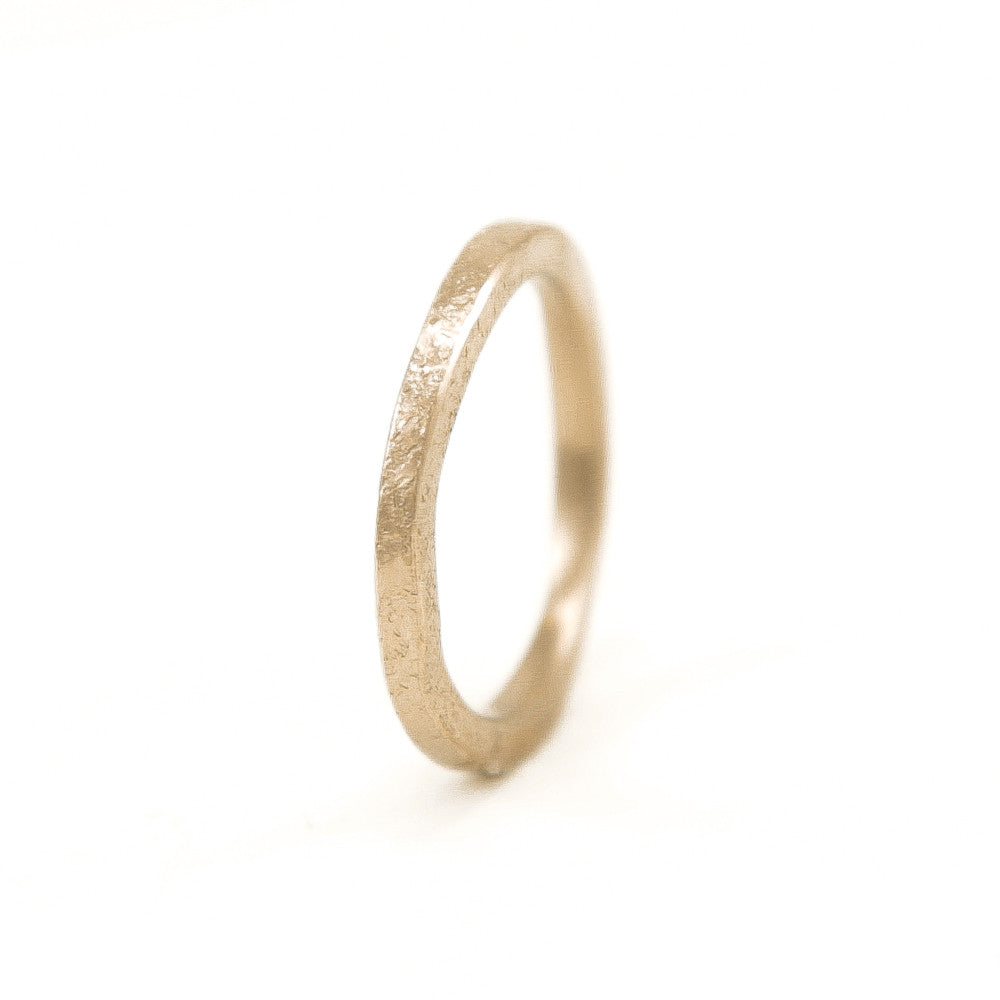 Women's 14K Gold Thin Organic Band-4-Hozoni Designs