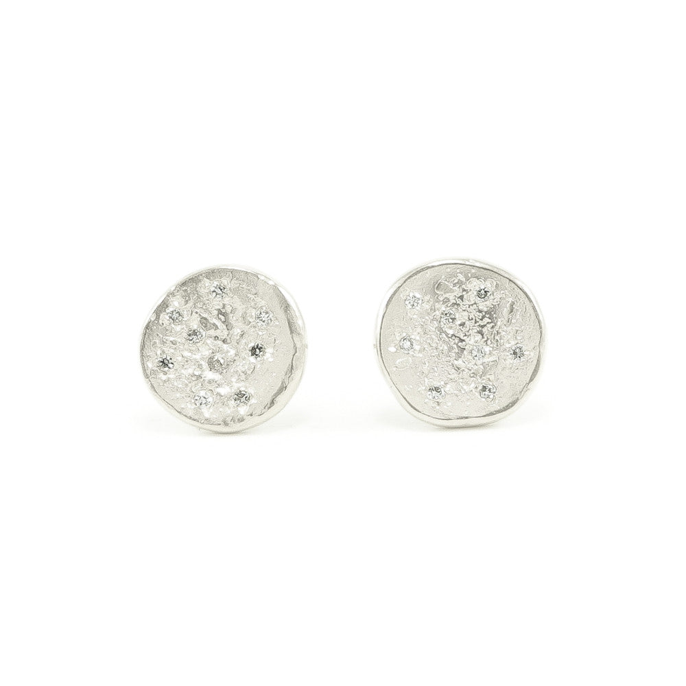 Sterling Silver Organic Stud Earrings With White Diamonds-Polished-Hozoni Designs