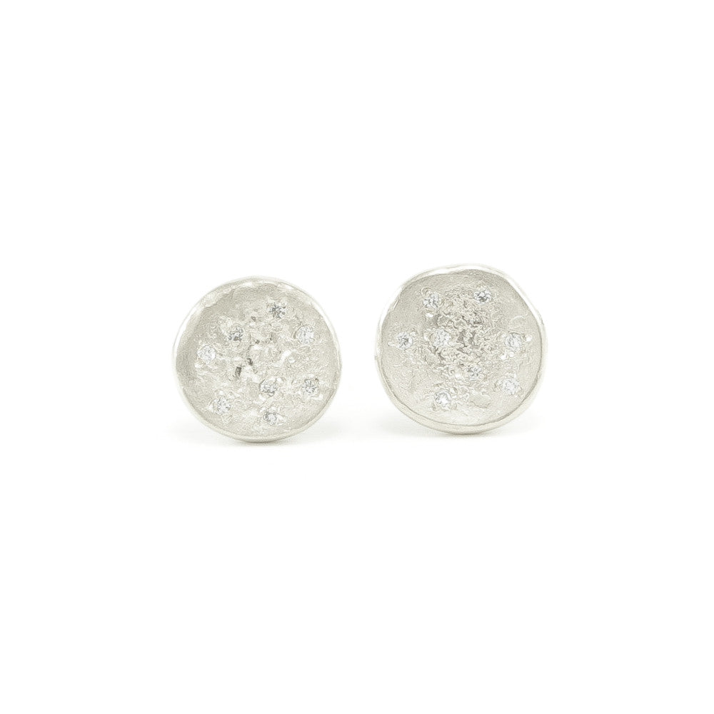 Sterling Silver Organic Stud Earrings With White Diamonds-Bright Satin-Hozoni Designs