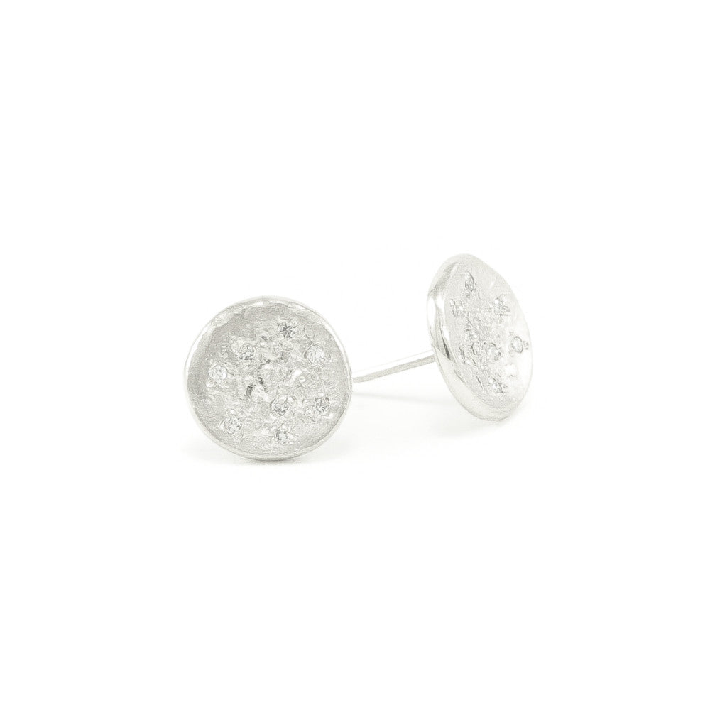 Sterling Silver Organic Stud Earrings With White Diamonds - Hozoni Designs