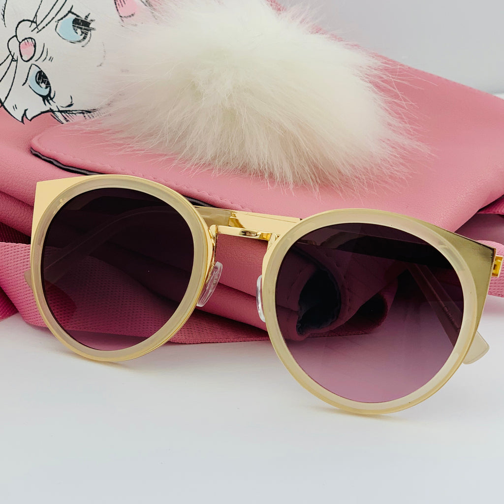 Round Cat Sunglasses in Clear/Gold - Lulabites