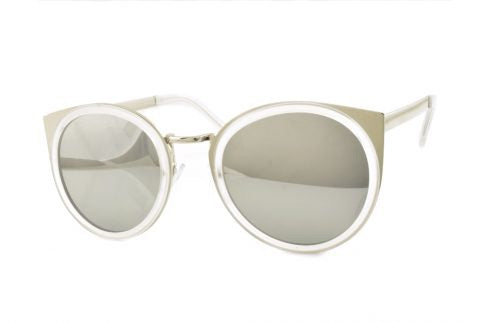 Round Cat Sunglasses in Silver/White - Lulabites