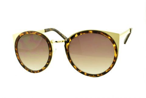 Round Cat Sunglasses in Gold/Tortoise - Lulabites