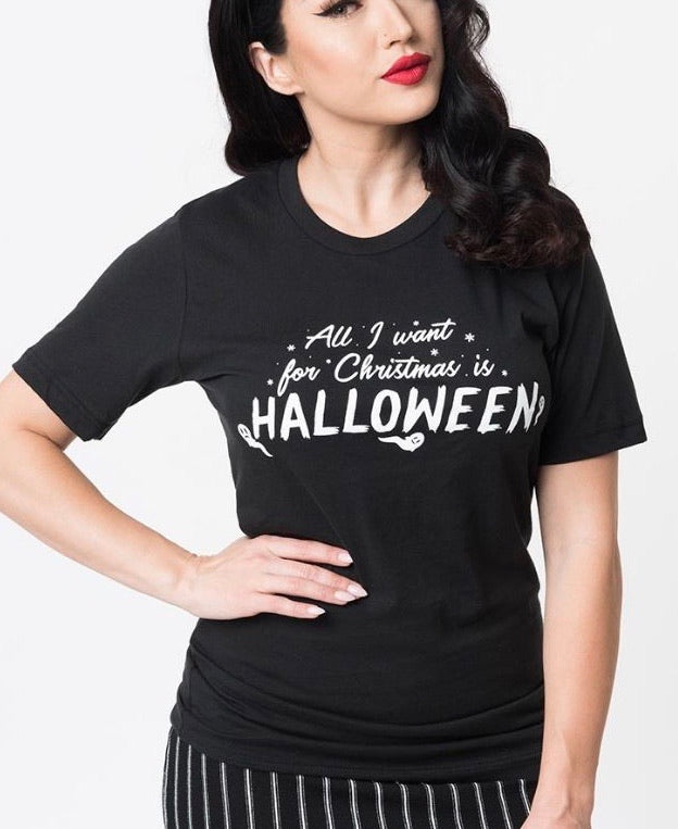 All I Want For Christmas Is Halloween Unisex Tee x Unique Vintage