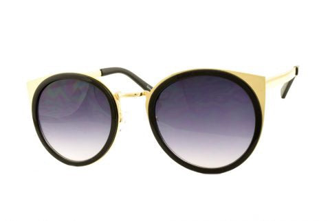 Round Cat Sunglasses in Gold/Black - Lulabites