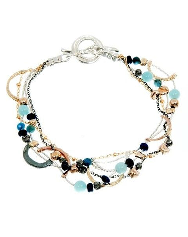 Sterling Silver, Gold Filled, Peruvian Opal, Lapis, Apatite Bracelet