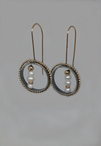 Sterling Silver, Gold Filled Pearl, Earrings
