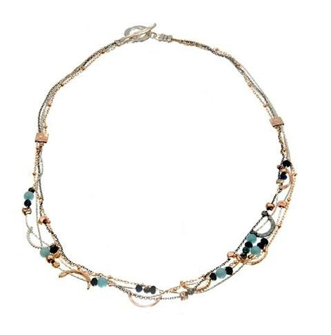 Sterling Silver, Gold Filled Peruvian Opal, Lapis, Apatite Necklace