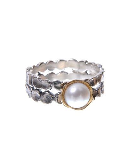 Sterling Silver, 9K Gold, Pearl Ring