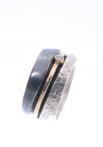 Sterling Silver, 9K Gold, Zircon Ring