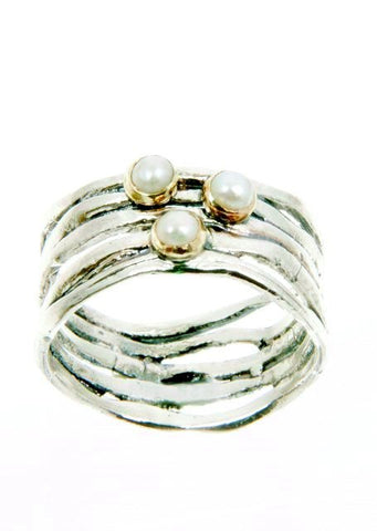 Sterling Silver, Gold 9K, Pearl Ring