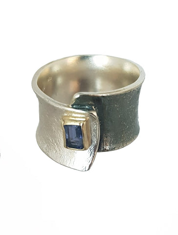 Sterling Silver, 9K Gold, Iolite Ring