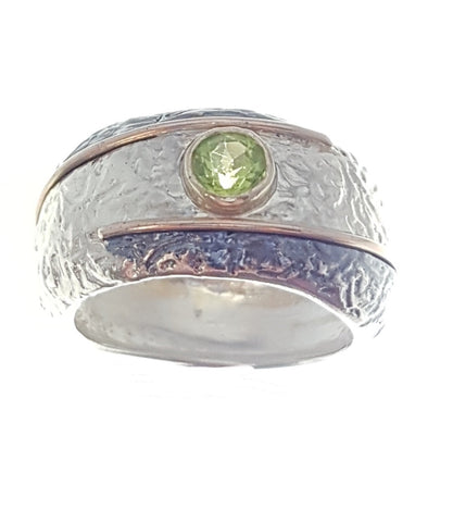 Sterling Silver, 9K Gold, Peridot Ring